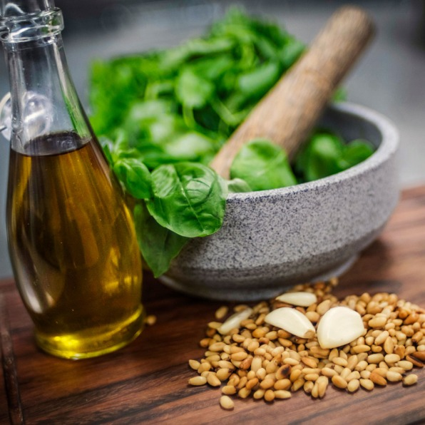 basil and olive oil